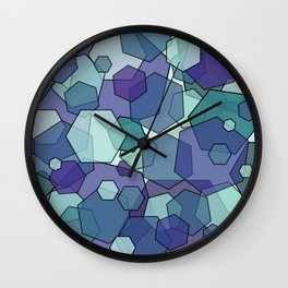 Converging Hexes - teal and purple Wall Clock