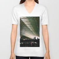 washington dc V-neck T-shirts featuring Union Station, Washington DC by Mt Zion Press