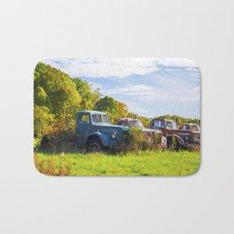 Antique Trucks in Autumn Bath Mat