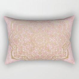 MOON DANCE MANDALA IN GOLD AND PINK Rectangular Pillow