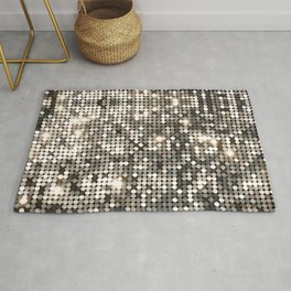 Silver disco glitter and sparkles Rug