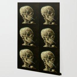 Vincent van Gogh - Skull of a Skeleton with Burning Cigarette Wallpaper