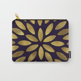 Classic Golden Flower Leaves Pattern Carry-All Pouch