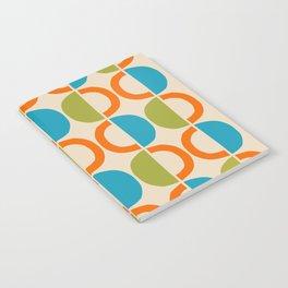 Mid Century Modern Half Circle Pattern 549 Beige Orange Cyan and Olive Notebook