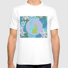 The hare amid the flowers MEDIUM White Mens Fitted Tee