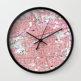 Vintage Map of Reno Nevada (1967) Wall Clock