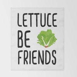 Lettuce Be Friends #lettuce #illustration #veggie #vegan #friends #green #veggiegift Throw Blanket