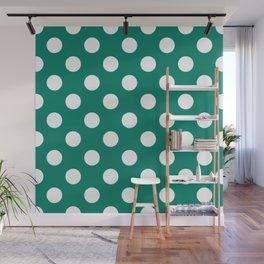Generic viridian - green - White Polka Dots - Pois Pattern Wall Mural