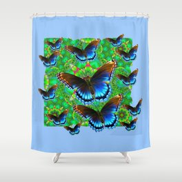 EXOTIC BLUE-BROWN BUTTERFLY ART Shower Curtain