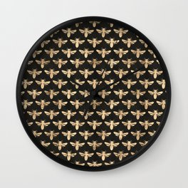 Honey Bees (Black) Wall Clock