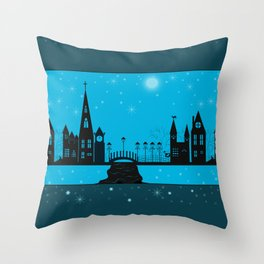 Winter night . Christmas. Throw Pillow