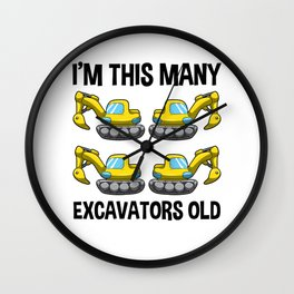 I'm This Many Excavators Old 4 Birthday Gift Wall Clock
