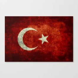 Flag of Turkey, in Grungy Vintage Canvas Print