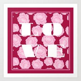 LOVE. Pink Roses. Art Print