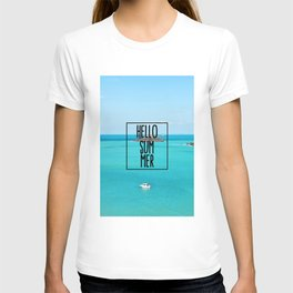 Hello Summer Typography with Turquoise Ocean T-shirt