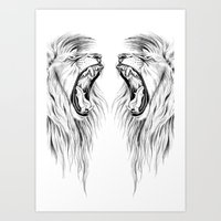 lions Art Prints featuring Lions by Libby Watkins Illustration
