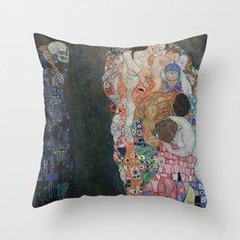 Life and Death - Gustav Klimt Throw Pillow