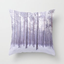 Snow in Trees Throw Pillow