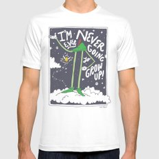 Peter Pan: Never Going to Grow Up! MEDIUM White Mens Fitted Tee