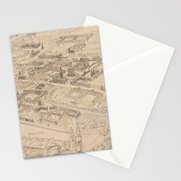 Vintage Pictorial Map of Oxford England (1850) Stationery Cards