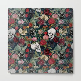 Distressed Floral with Skulls Pattern Metal Print