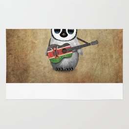 Baby Penguin Playing Kenyan Flag Acoustic Guitar Rug
