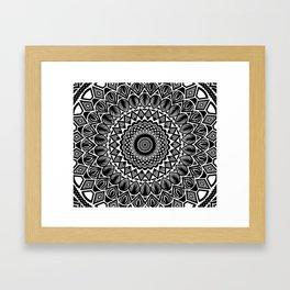 Detailed Black and White Mandala Framed Art Print