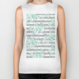MINT FLORAL GRAY STRIPES SPRING Biker Tank