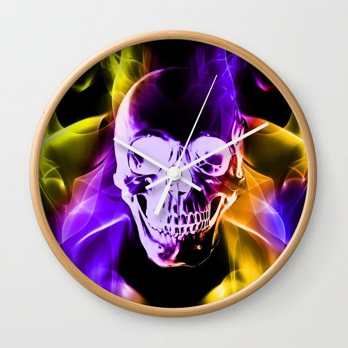 Smokey Skull Wall Clock