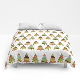 Abstract pine tree forest seamless pattern background Comforters
