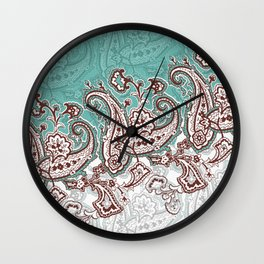 mint paisley inclined Wall Clock
