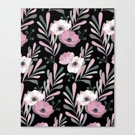 Anemones & Olives black Canvas Print