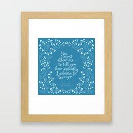 Jane Austen Pride and Prejudice Quote Framed Art Print