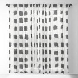 Polka Strokes - Black on Off White Sheer Curtain