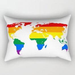 LGBT World Map Rectangular Pillow