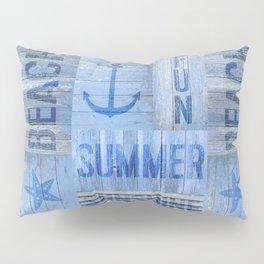 Blue Summer Beach Wood Pillow Sham