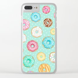 Scattered Rainbow Donuts on spotty mint - repeat pattern Clear iPhone Case