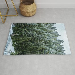 Snow Bank Woodlands // Photograph of the Dense Blue Green Evergreen Pine Tree Forest Rug