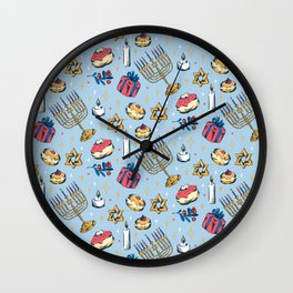 Hanukkah Festival of Lights Pattern Gift Wall Clock