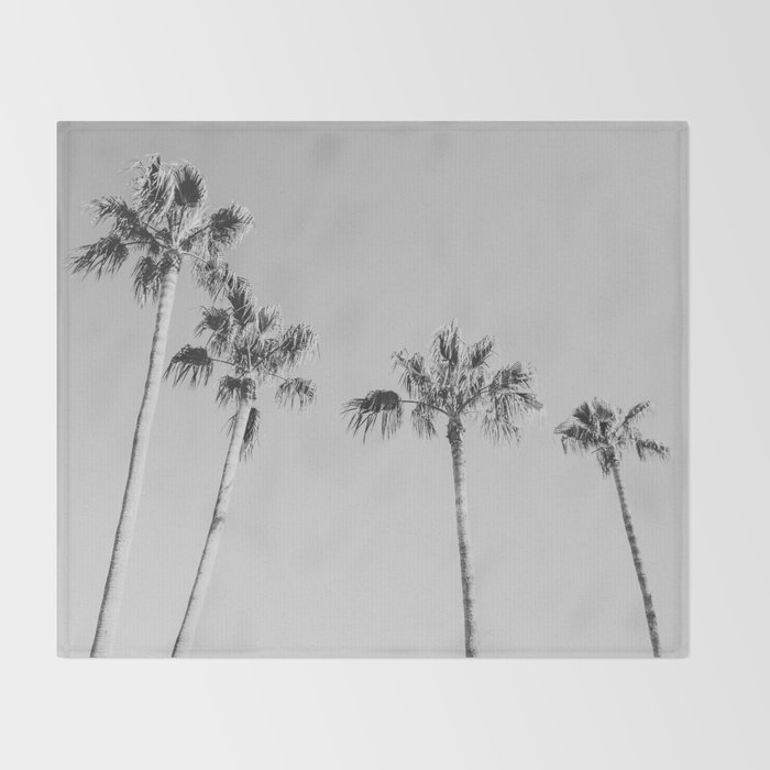 Black Palms // Monotone Gray Beach Photography Vintage Palm Tree Surfer Vibes Home Decor Throw Blanket