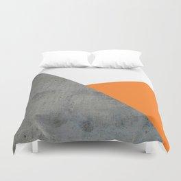 Concrete Tangerine White Duvet Cover