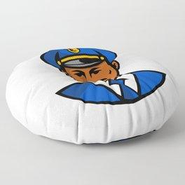 African American Policeman Mascot Floor Pillow