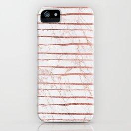 Stylish rose gold glitter stripes white marble pattern iPhone Case