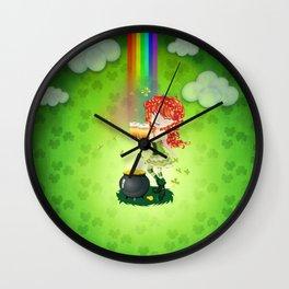 Leprechaun girl with beer Wall Clock