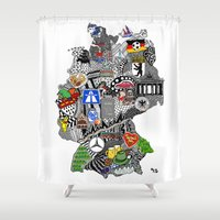 mercedes Shower Curtains featuring Germany Doodle by Rebecca Bear