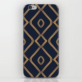 Modern Boho Ogee in Navy & Gold iPhone Skin
