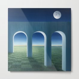 The Aqueduct by the Moon Metal Print