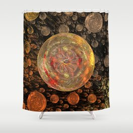 Orange Bubble Shower Curtain