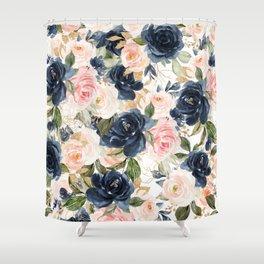 Navy Pink Watercolor Floral Pattern Nursery Flowers Shower Curtain