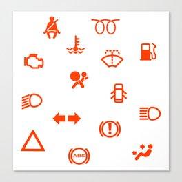 Vehicle Dash Warning Symbols Canvas Print